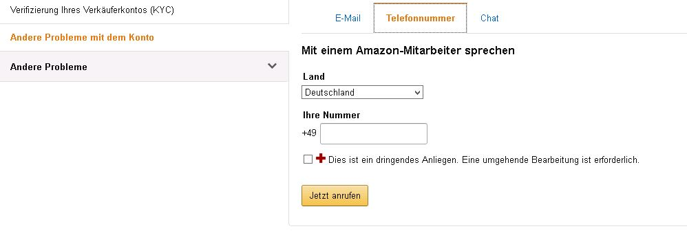 Screenshot aus Amazon Seller Central