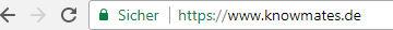 Sichere Seite mit aktiver SSL-Verschlüsselung