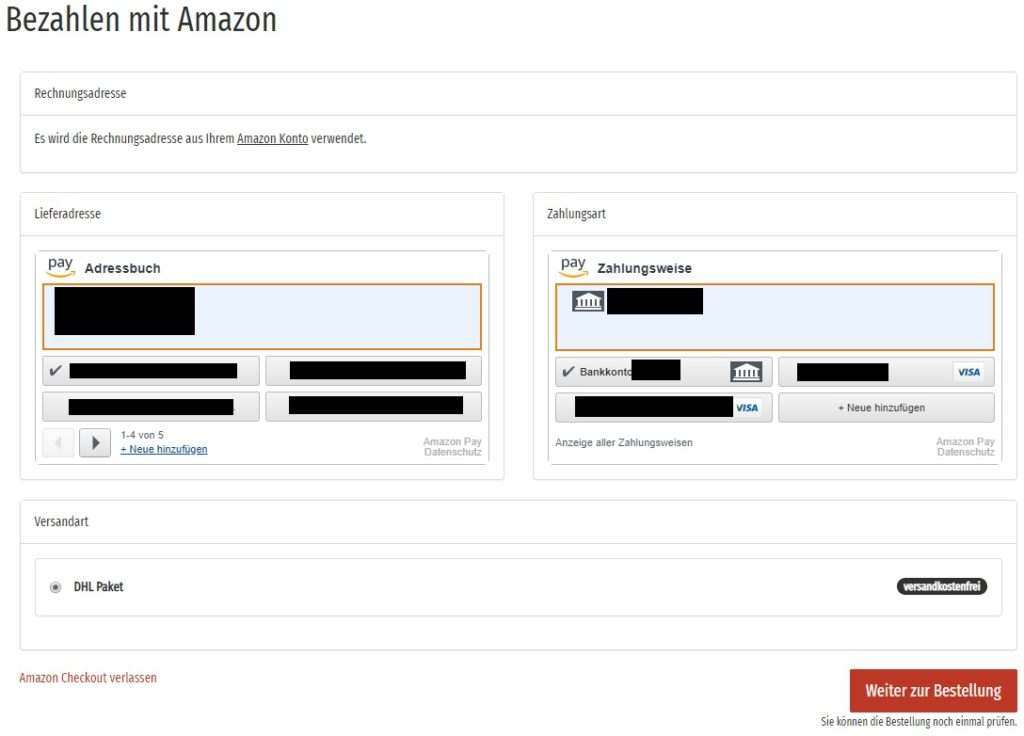 Ein Screenshot von Amazon Pay im JTL Shop