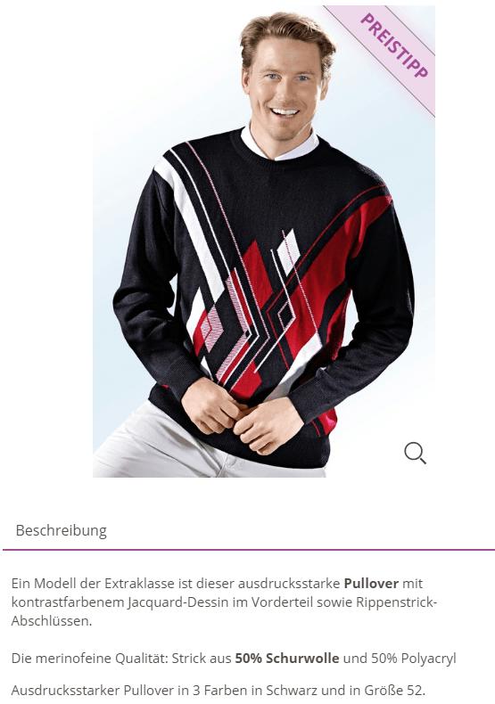 Ein Mann stellt einen Pullover in einem Onlineshop vor