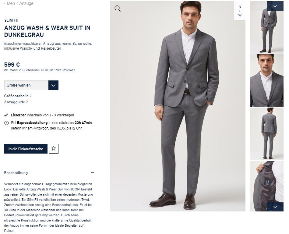 Ein Mann präsentiert einen Anzug auf joop.de