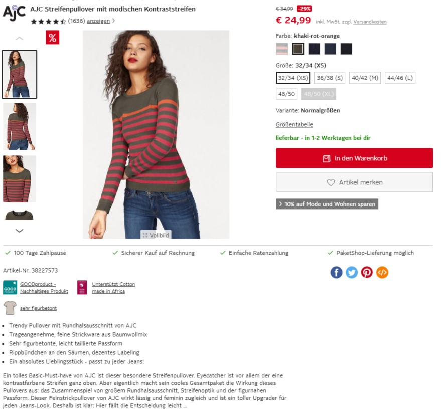 Eine Frau präsentiert ein Oberteil auf der Website von Otto.de