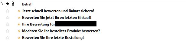 Ein Emailpostfach mit Bewertungsmails