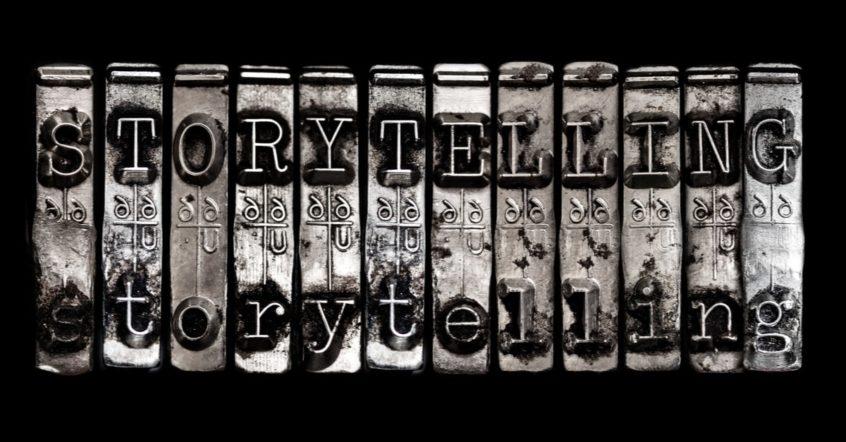 Das wort Storytelling als Schreibmaschinen-Schrift