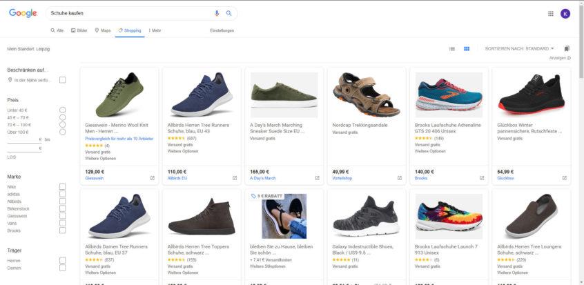 Eine Übersicht von Schuhen in Google-Shopping