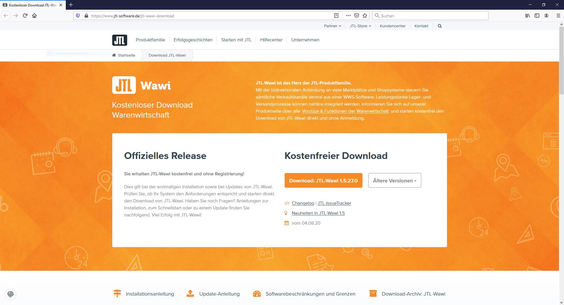 Die Downloadseite von JTL mit der aktuellsten JTL-Version