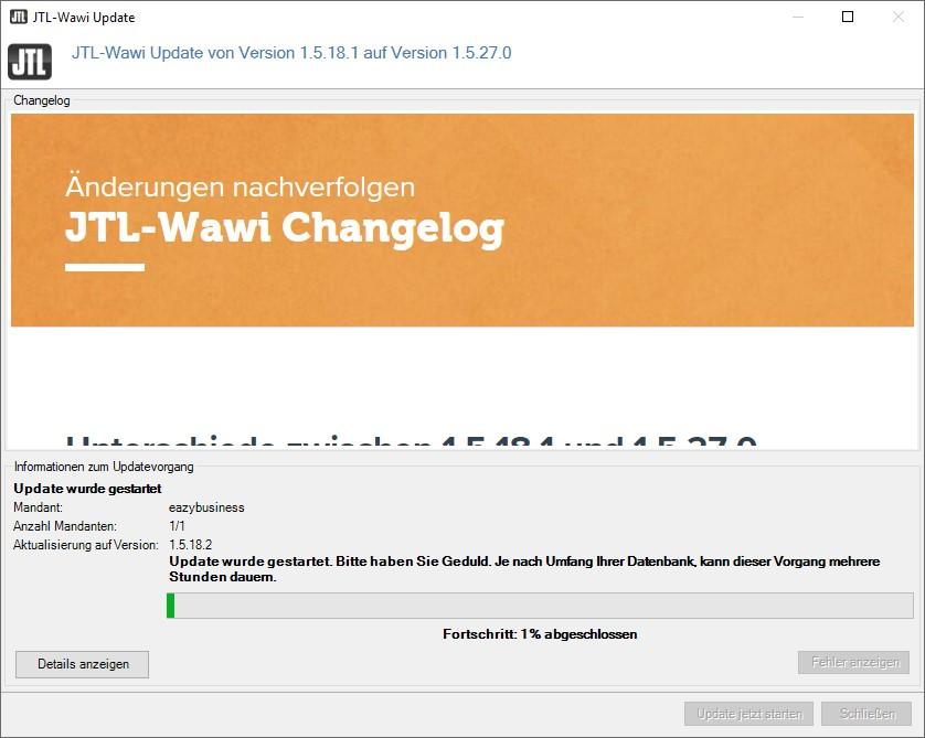 Laudendes Update der JTL-Wawi-Datenbank