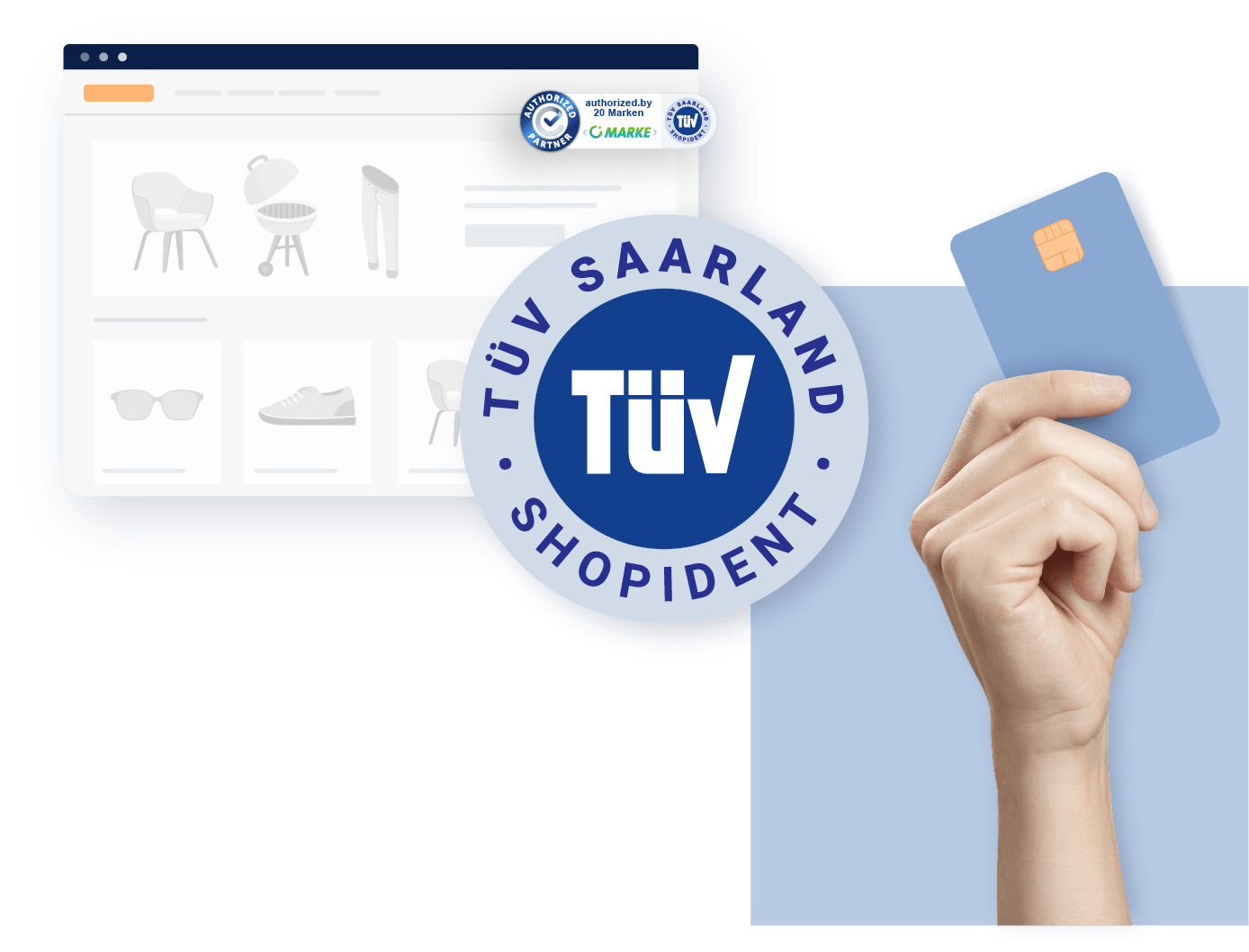 Screenshot mit TÜV-Siegel & Hand mit Kreditkarte