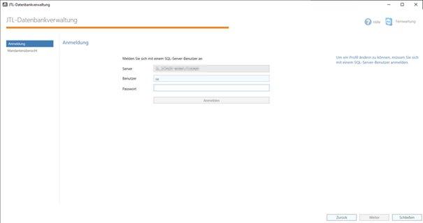 Die Passworteingabe der JTL-Datenbank-Verwaltung