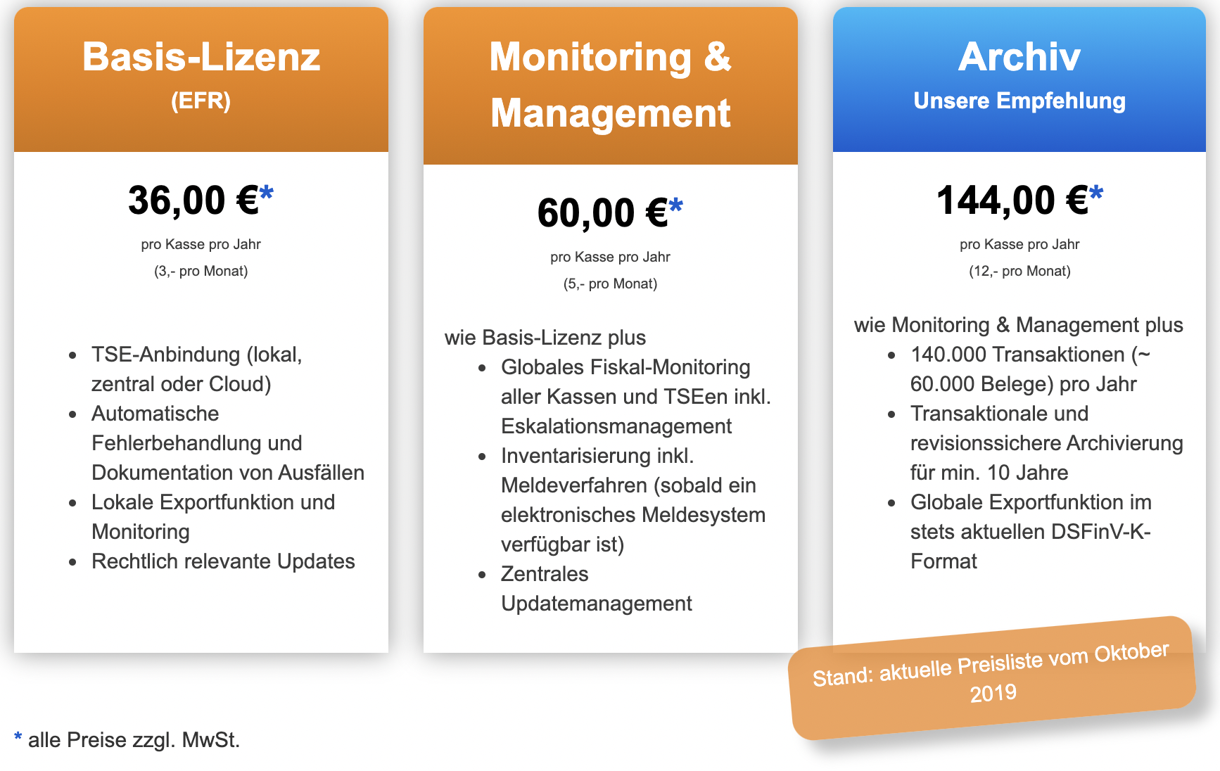 Übersicht Funktionspakete & Kostenstaffelung für EFR