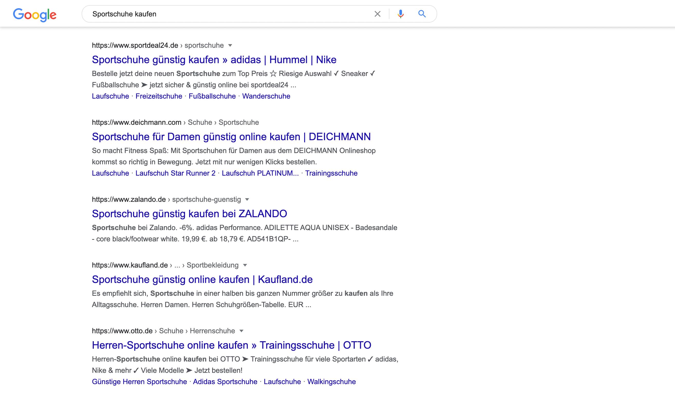 Google Ergebnisse zur Anfrage Sportschuhe kaufen