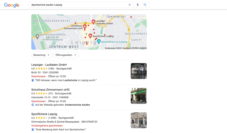 Google Maps Ergebnisse zur Anfrage Pizza bestellen