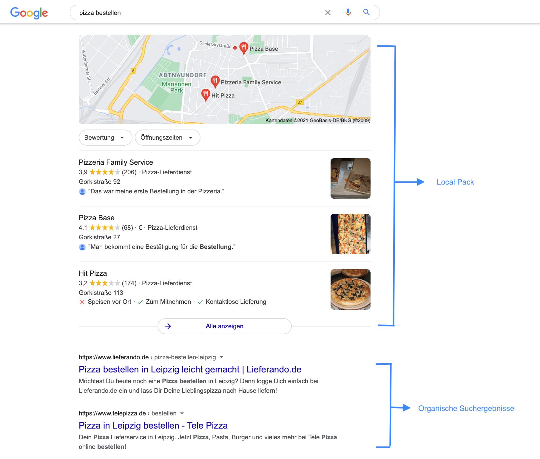 Google-Suchergebnisse zur Anfrage Pizza bestellen