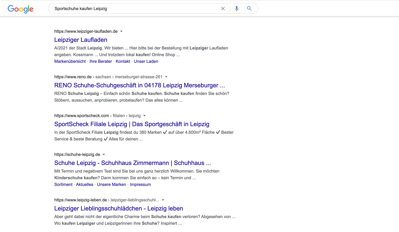 Google Ergebnisse zur Anfrage Sportschuhe kaufen Leipzig