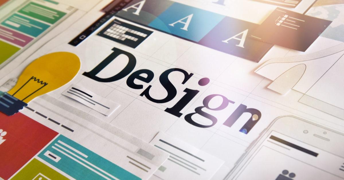 """Das Wort """"Design"""" mit mehreren Typesettings"""