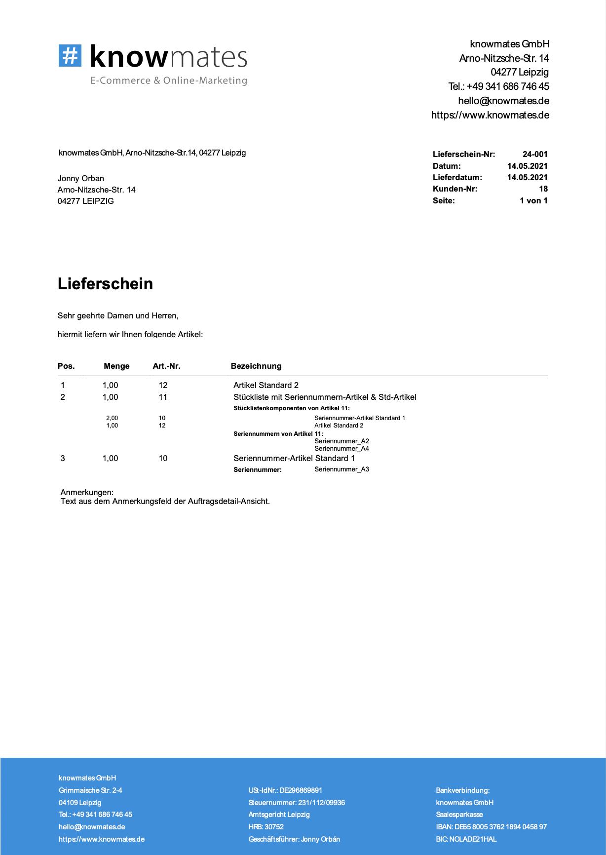 JTL-Lieferschein in Firmenlook mit Logo und Corporate Farben.
