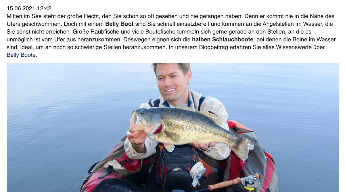 Ausschnitt Blogartikel mit Artikelbild, auf dem ein Mann in einem Boot auf dem Wasser ist und einen Fisch in die Kamera hält.