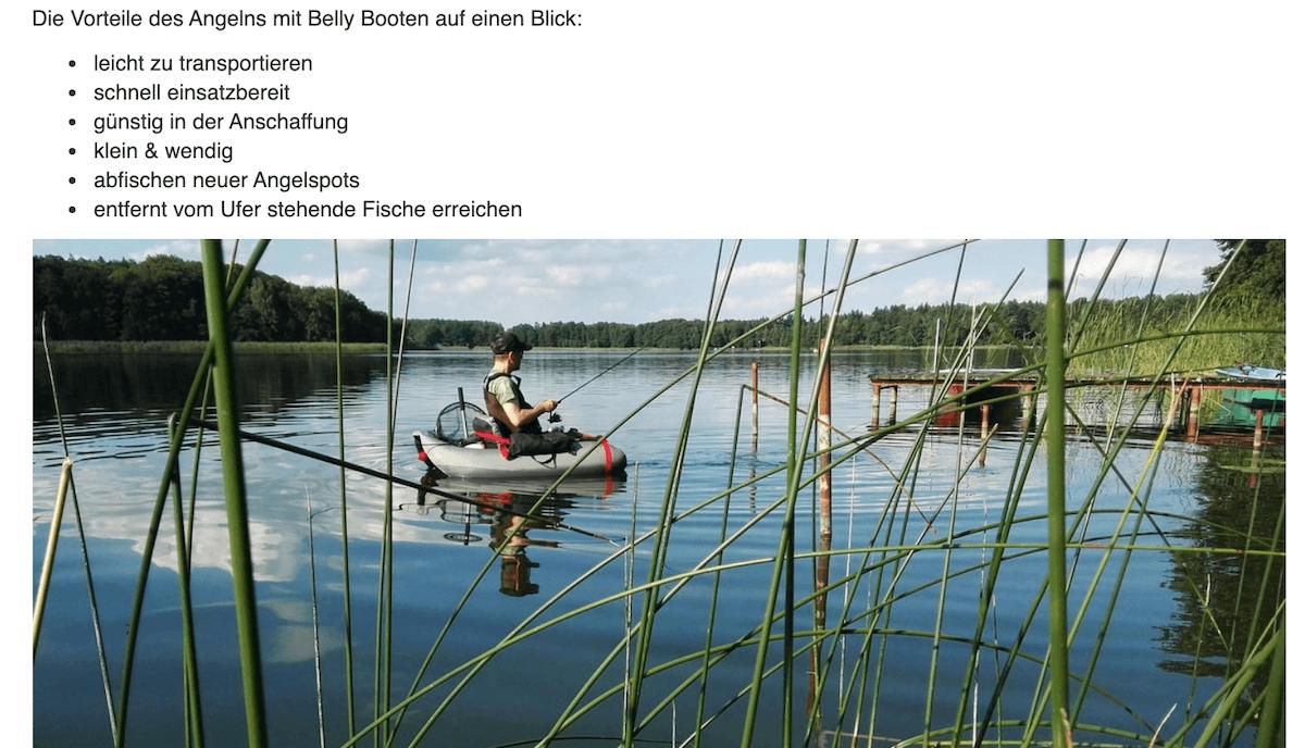 Ausschnitt Blogartikel mit Artikelbild, auf dem ein Mann in einem Boot auf dem Wasser ist und angelt.